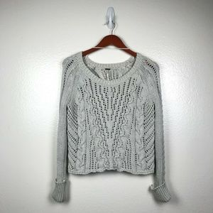 Free People Cable Knit Split Back Crop Sweater